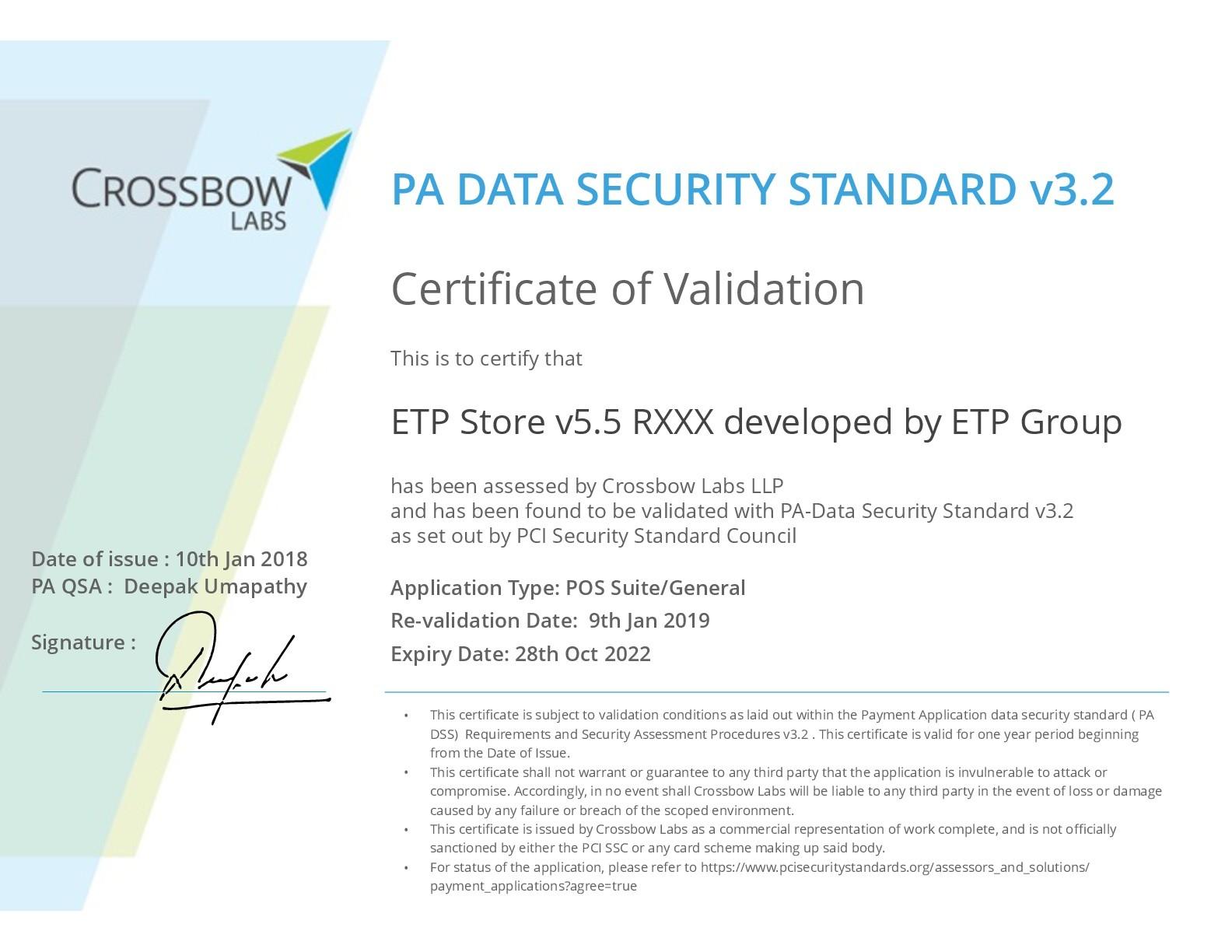 etp pci dss certificate