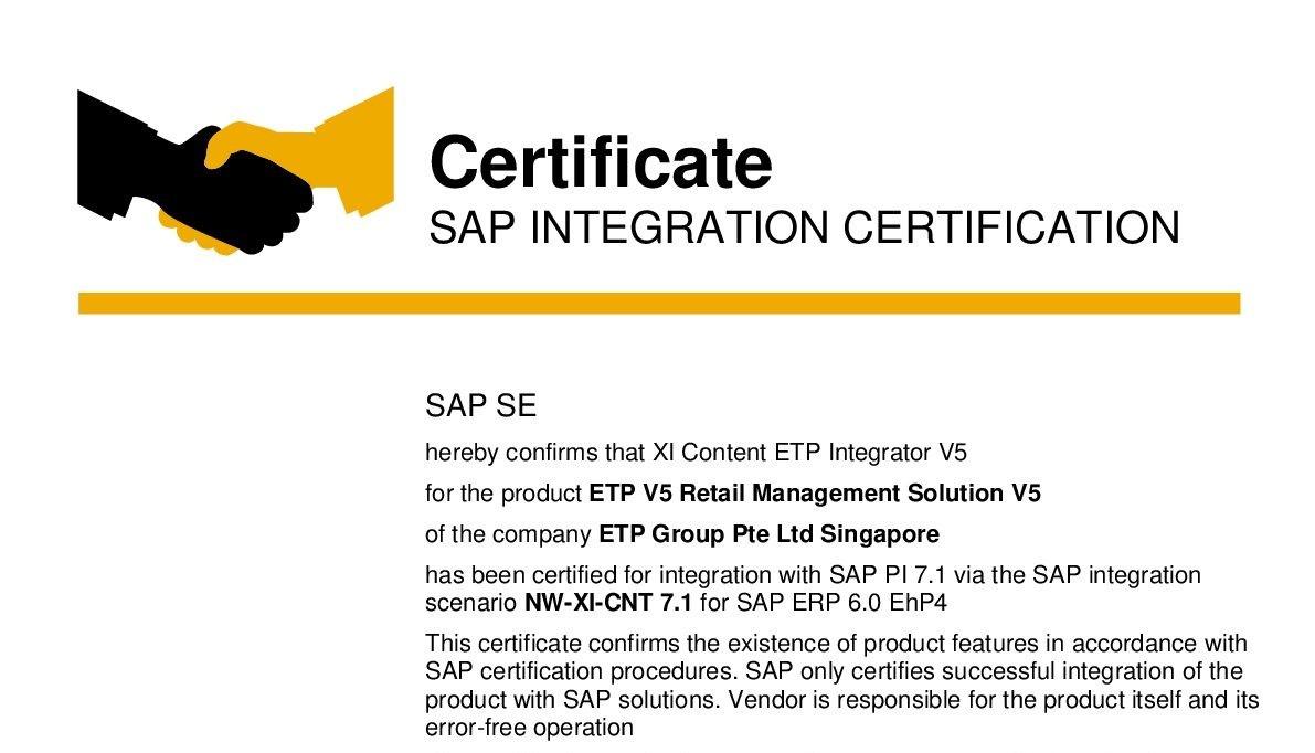etp sap certificate