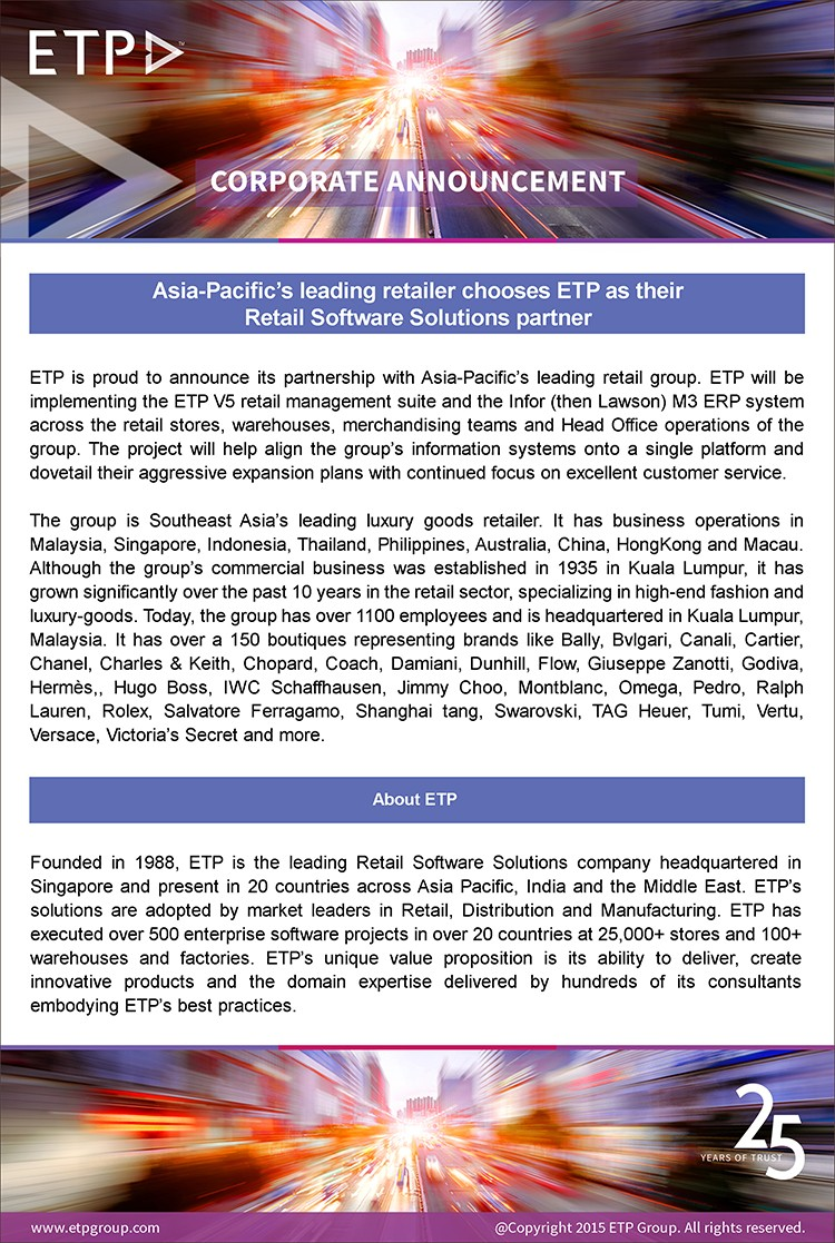 Asia-Pacific's leading retailer chooses ETP as their Retail Software Solutions partner