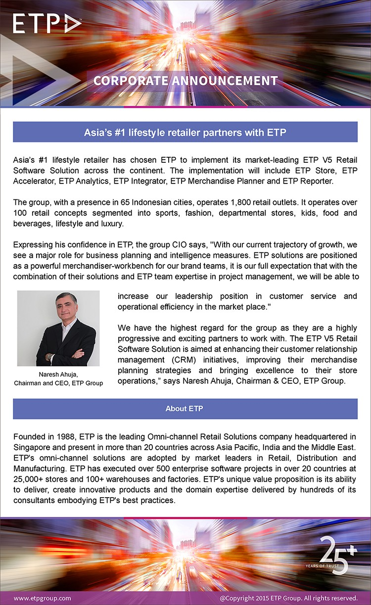 Asia's #1 lifestyle retailer partners with ETP