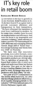 Bangalore Mirror covers Retail NEXT and reports IT plays a key role in retail boom