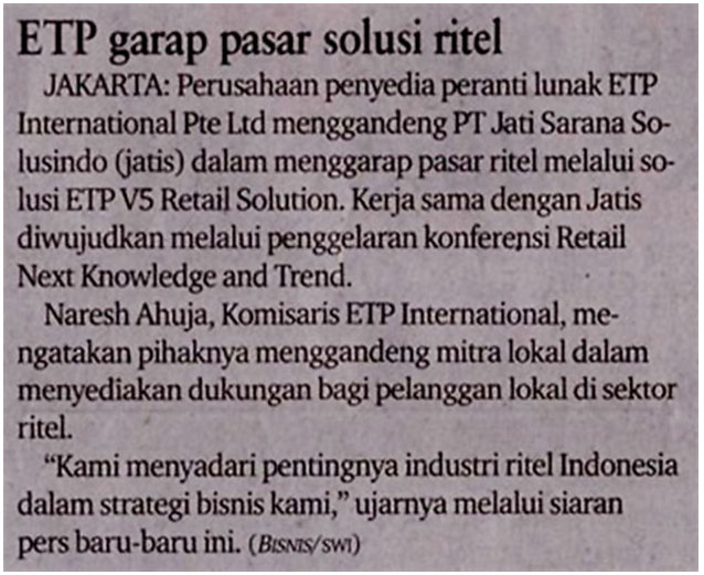 Bisnis Indonesia Writes On ETP and PT Jatis Partnership