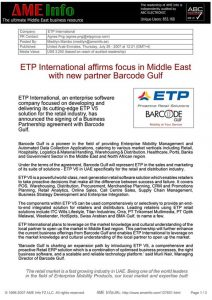 ETP International Affirms Focus In Middle East With New Partner Barcode Gulf