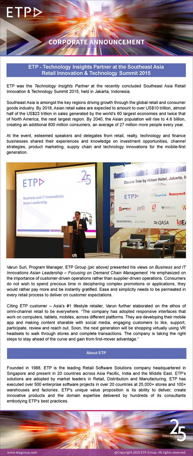 ETP - Technology Insights Partner at Southeast Asia Retail Innovation & Technology Summit 2015