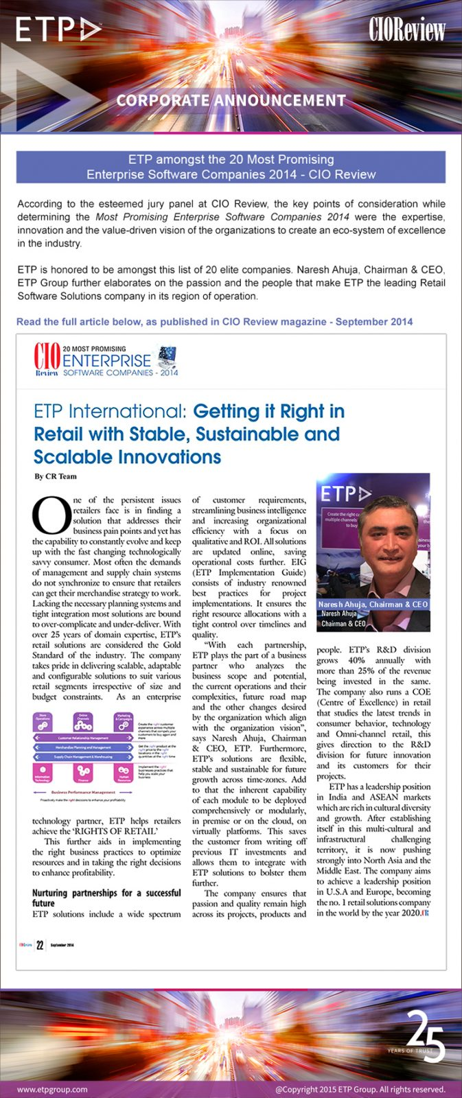 ETP amongst the 20 Most Promising Enterprise Software Companies 2014 - CIO Review