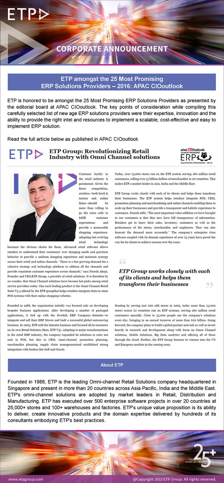 ETP amongst the 25 Most Promising ERP Solutions Providers – 2016 APAC CIOoutlook