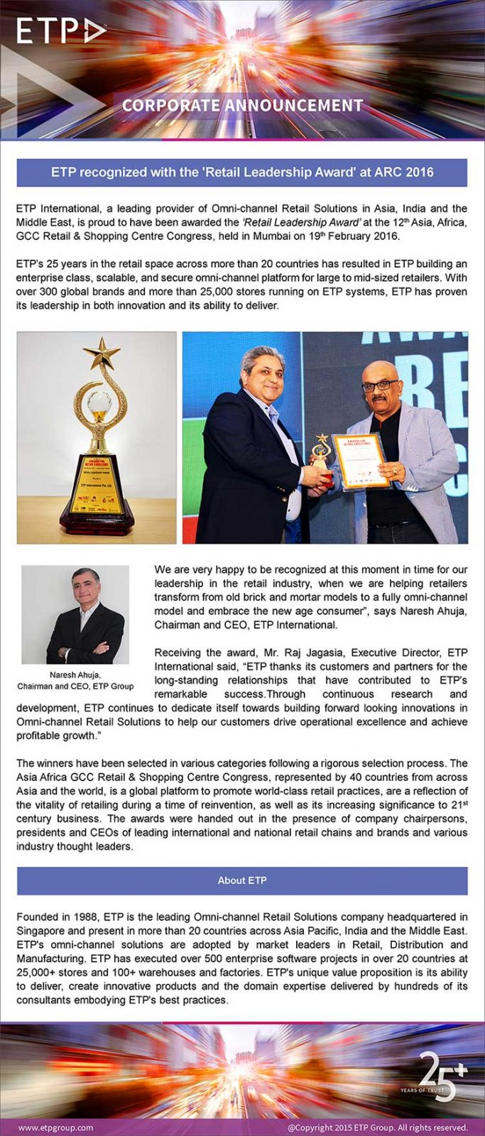 ETP recognized with the ´Retail Leadership Award´ at ARC 2016