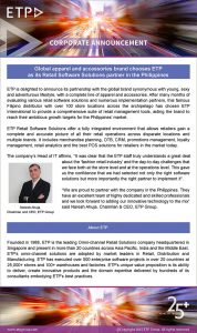Global Apparel And Accessories Brand Chooses ETP As Its Retail Software Solutions Partner In The Philippines