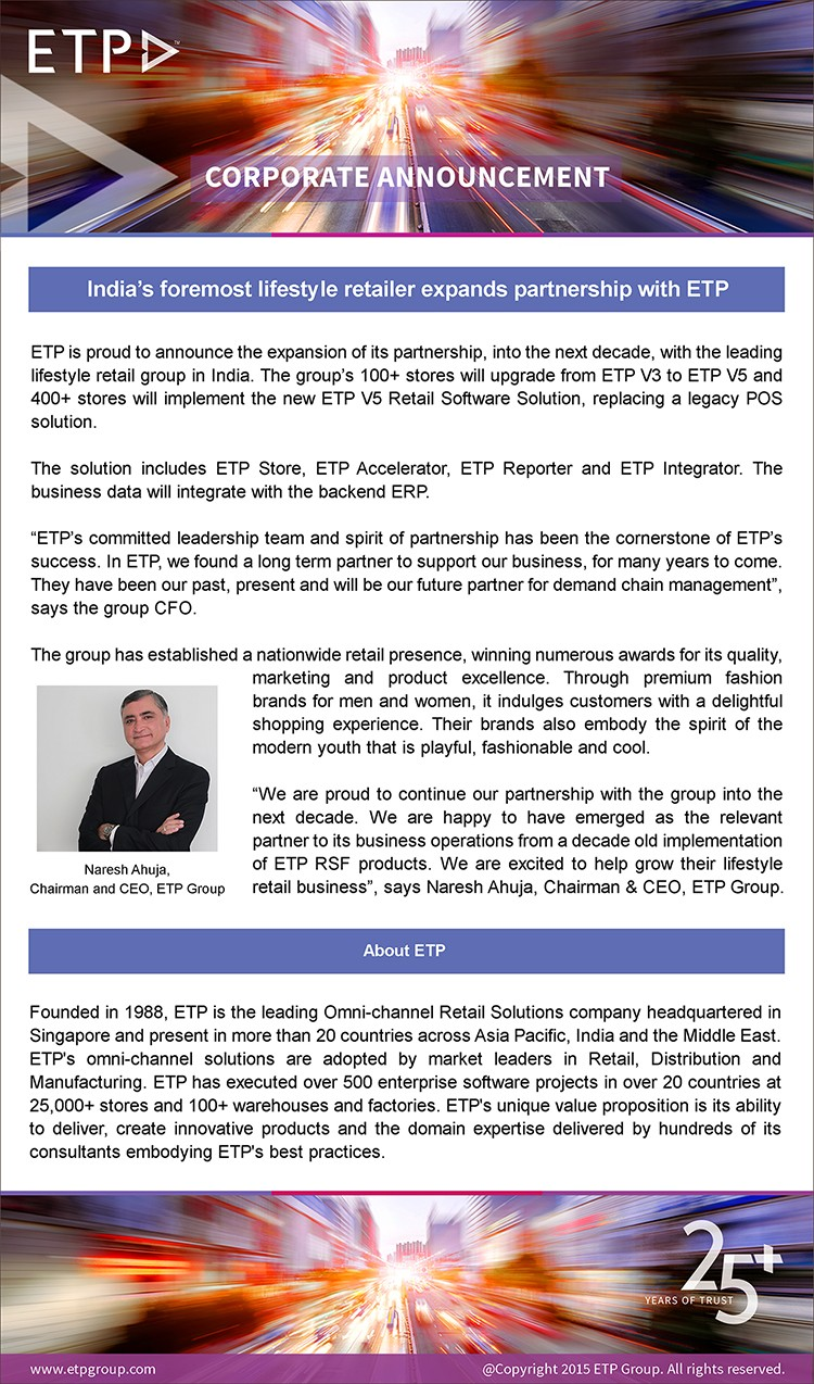 India's foremost lifestyle retailer expands partnership with ETP