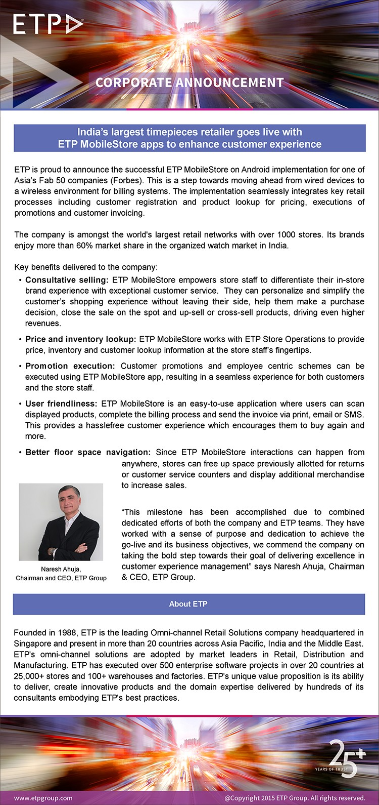 India's largest timepieces retailer goes live with ETP MobileStore to enhance customer experience