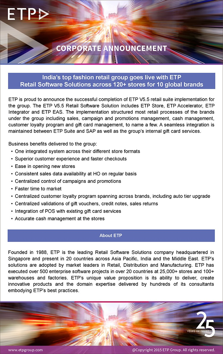 India's top fashion group goes live with ETP Retail Solutions across 120+ stores for 10 global brands