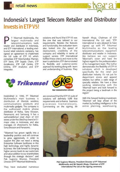 Indonesia Largest Telecom Retailer and Distributor Invest in ETP V5