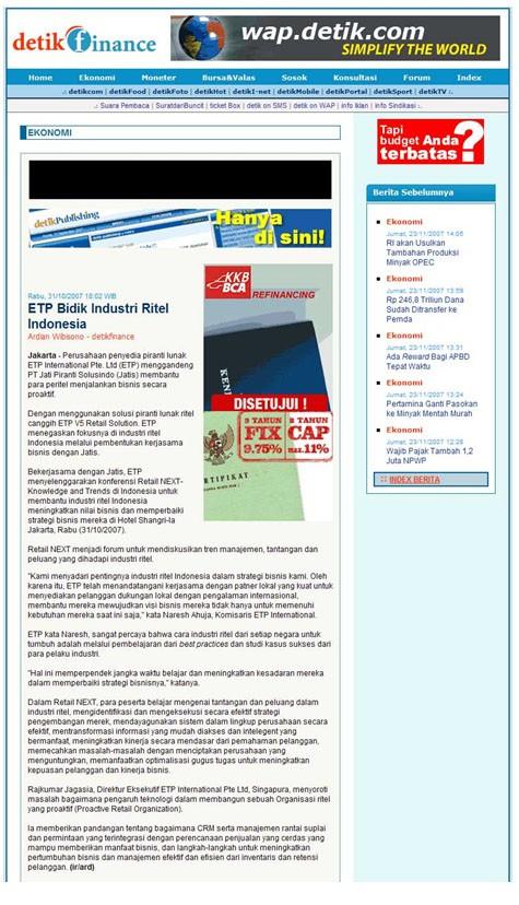 Indonesia's Popular News Portal Detik.com Reports On Retail NEXT Indonesia