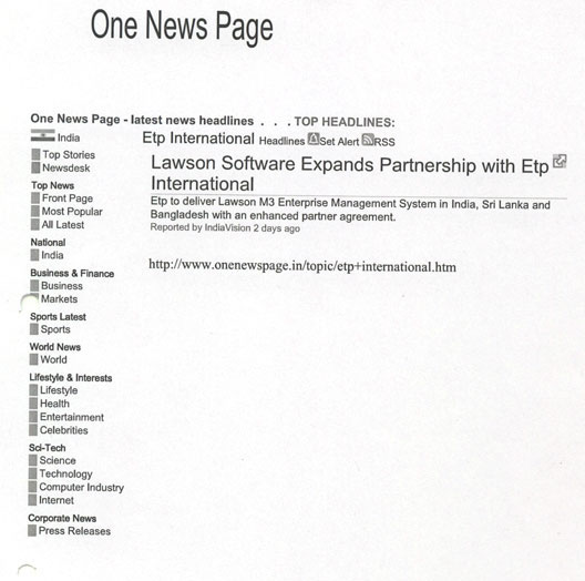 lawson software expands partnership with etp international one news page