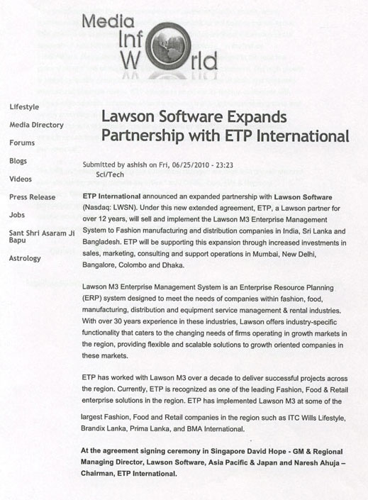 lawson software expands partnership with etp international media info world