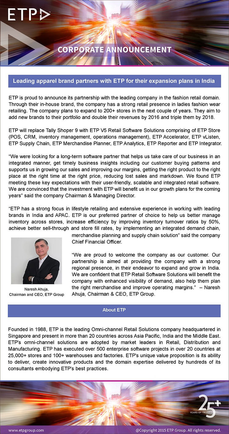 Leading apparel brand partners with ETP for their expansion plans in India