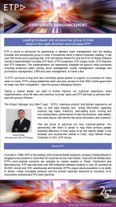 Leading footwear and accessories group in India steps in the right direction and chooses ETP
