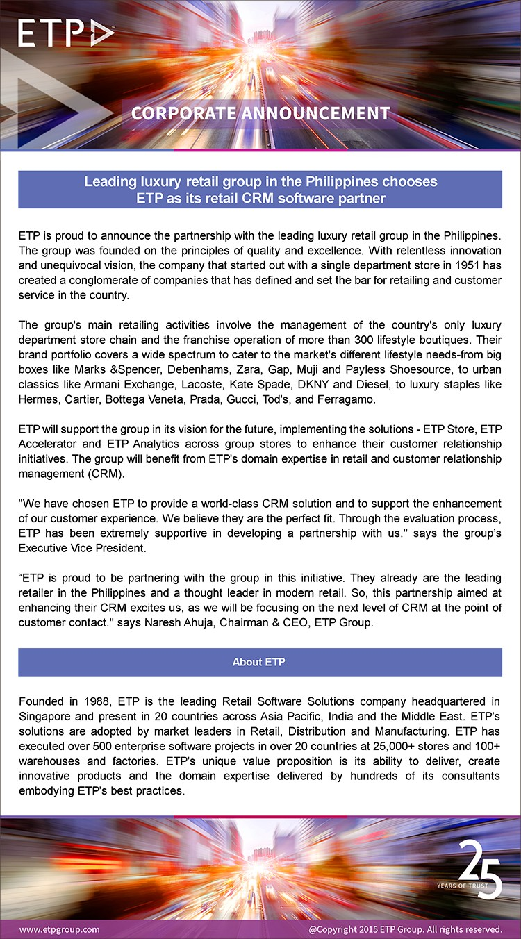 Leading luxury retail group in the Philippines chooses ETP as its retail CRM software partner