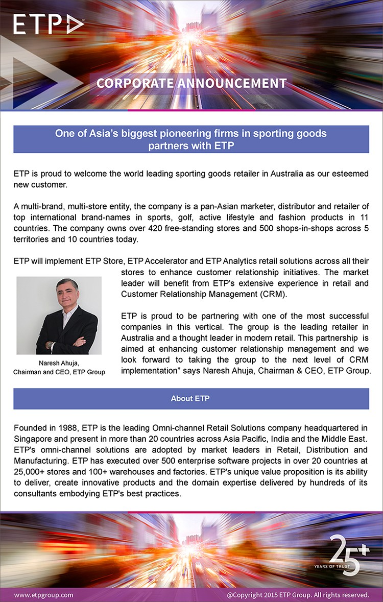 One of Asia's biggest pioneering firms in sporting goods partners with ETP