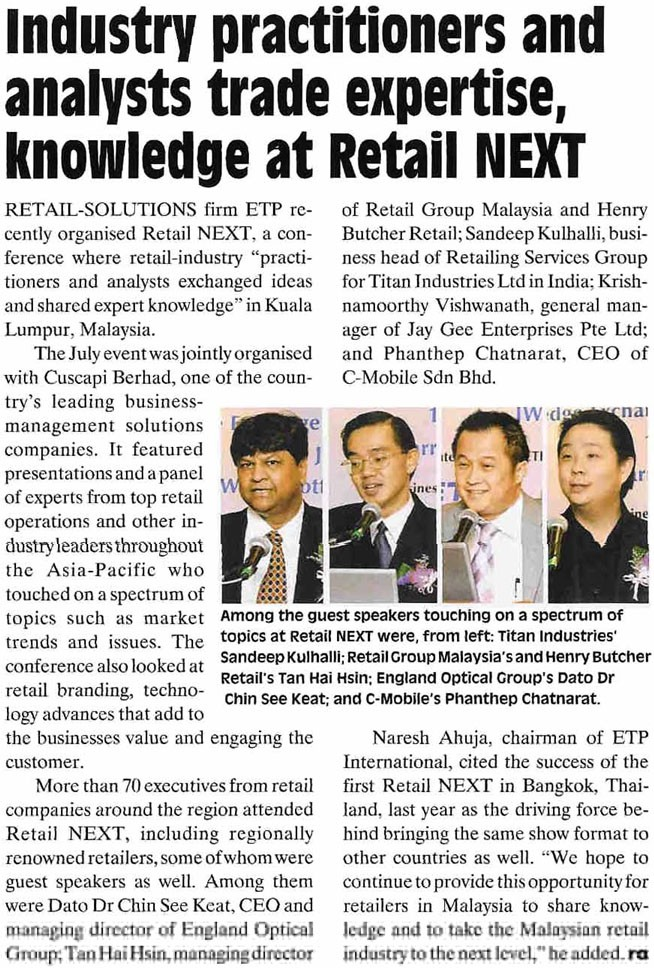 Retail Asia provides post-event coverage on Retail NEXT Malaysia