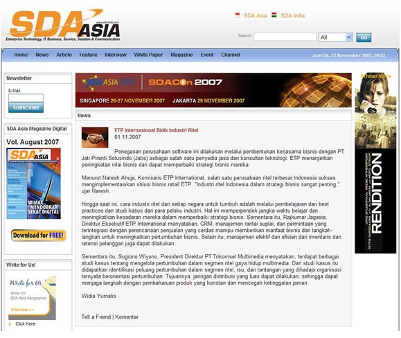 SDA Asia Features ETP and PT Jatis Business Partnership