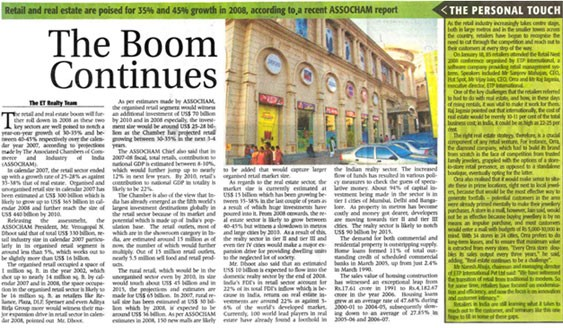 The Economic Times - Realty reports on Retail NEXT India