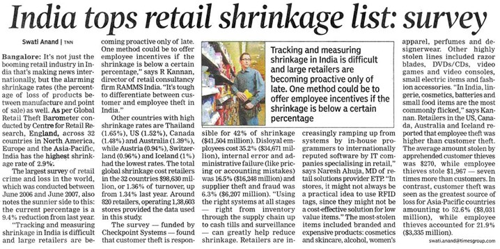 The Times of India interviews ETP during Retail NEXT for retail shrinkage story (Jan 18, 2008 - TOI Bangalore)