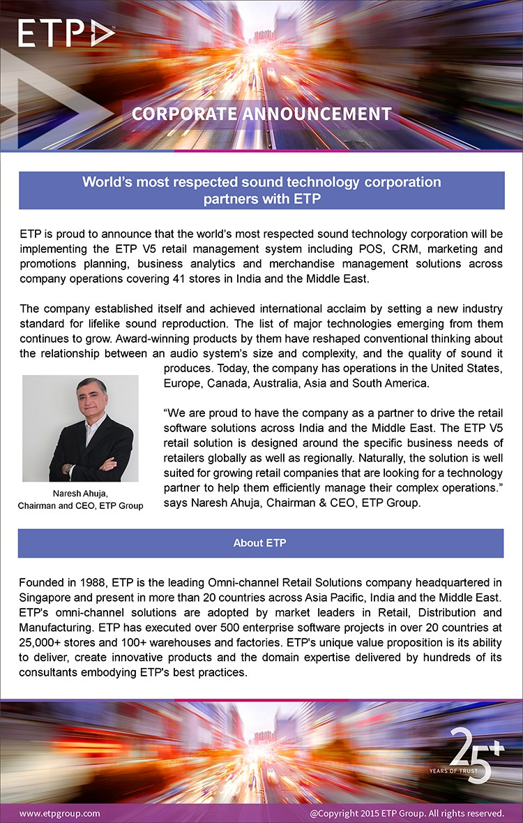 World's most respected sound technology corporation goes live in UAE with ETP V5 Retail Software Solution